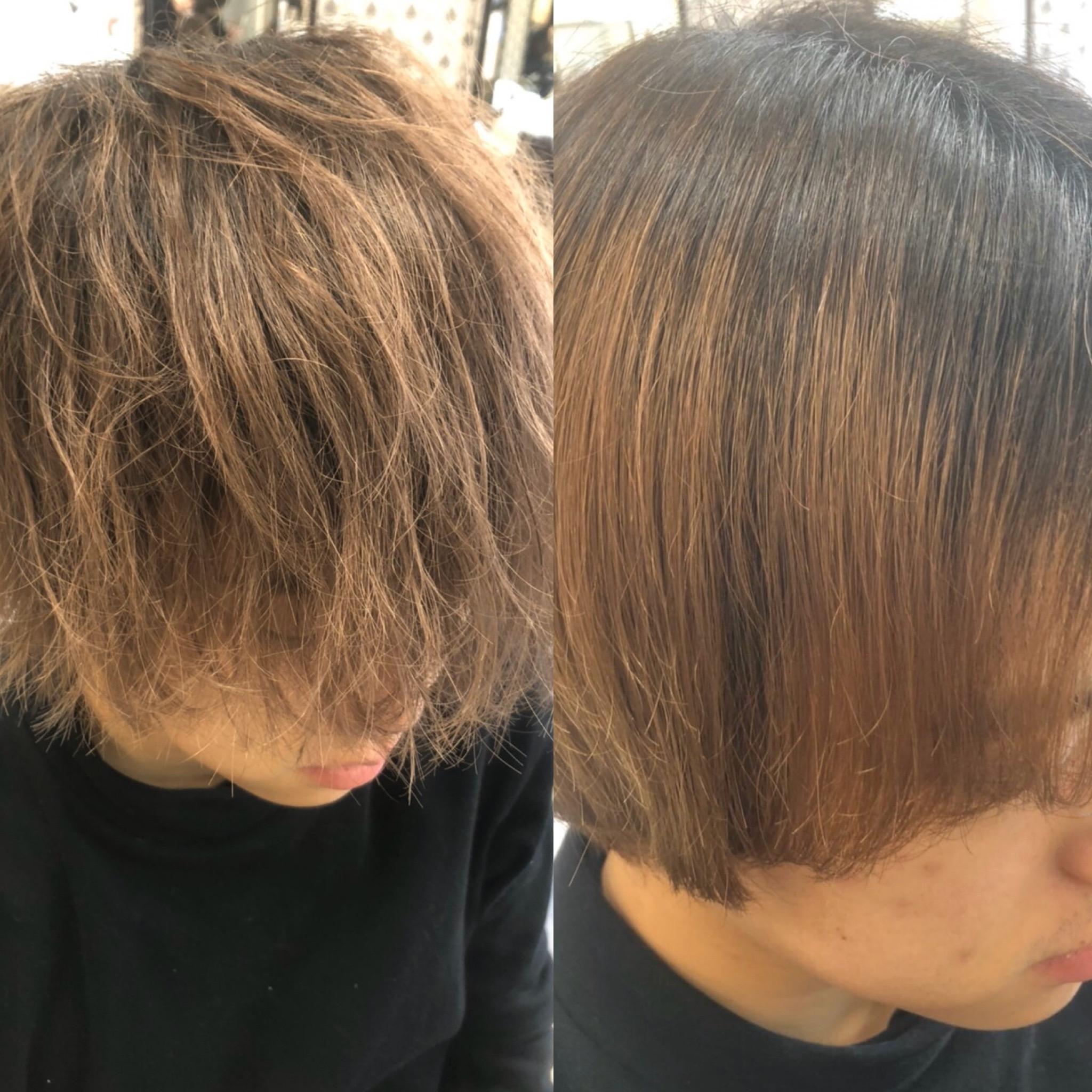 ビフォーアフター 見比べ ヘア 美容師 酸熱トリートメント 髪質改善トリートメント